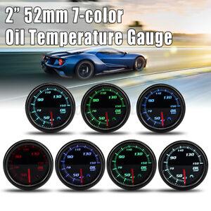 "2"" 52mm Universal Car Auto 7 Color LED Display Oil Temp Temperature Gauge"