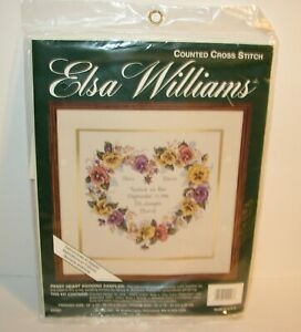 NEW Elsa Williams Pansy Heart Wedding Sampler Counted Cross Stitch Kit 02097