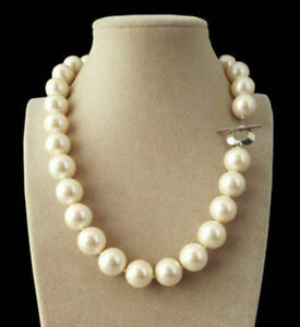 Genuine Natural 8/10/12mm South Sea White Shell Pearl Round Beads Necklace 18''