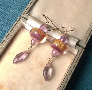 AMETHYST EARRINGS 14K GOLD FILLED GLASS UNIQUE BEADS