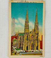 Vintage Unused Linen Postcard - St. Patrick's Cathedral, New York City