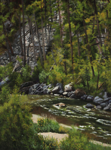 Virgia West A Bend in the River Original Painting on Canvas 24x18 Salmon River