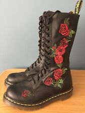 Dr Doc Martens Black Leather Calf Length Boots Size 3 Excellent Cond Hardly Worn