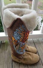 Retired ED HARDY BORN FREE EAGLE Tall Boots Suede Snowblazer Size 8 Tan