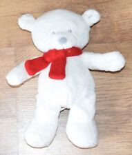 MOTHERCARE WHITE CHRISTMAS TEDDY BEAR WITH RED SCARF ON ITS NECK SOFT TOY