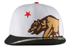 Dissizit! Side Bear White Black Brim Snapback Cap Hat California Star Flag