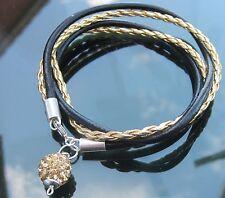 Negro Oro Cordón De Cuero Pulsera Con Plata 925 Extremos Y Broche Con Crystal