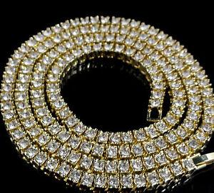 Men's Women's 14k Gold Simulate Diamond 1Row Tennis Chain Hip Hop Necklace Bling