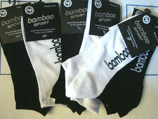 6 Pairs Mens Bamboo Sport Socks Ankle Sports Cushion Foot Size6-11 Black & White