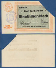 WEISSENHORN  1 Billion Mark  21.10.1923  Entwertet