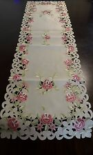 """Embroidered Tablecloth Pink Floral Table Runner 15""""x52"""" Table Topper Home Decor"""