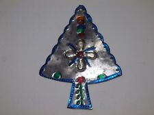 Vintage Mexican Folk Art Punched Pierced Tin CHRISTMAS TREE Ornament