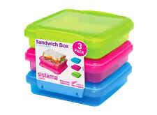 Klip It Sandwich Paquete de 3 cajas de almuerzo diseñado 450 Ml Sistema