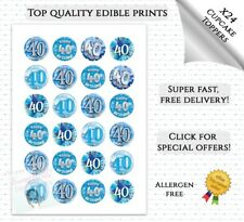 40TH BIRTHDAY CUPCAKE TOPPERS X24 EDIBLE FAIRY CAKE DECORATIONS BLUE
