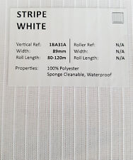 "89mm (3.5"") VERTICAL BLIND FABRIC. FULL ROLL. 100M. STRIPE WHITE"
