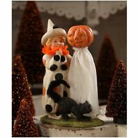 Bethany Lowe Polka Dots Clown Child Black Cat Retro Halloween Figurine Decor