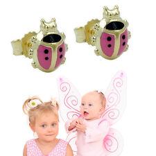 Mädchen rosa pink Marienkäfer Ohrstecker Kinder Ohrringe aus Echt Gold 333 8 Kt