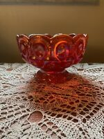 """L. E. Smith Red/Amber Carnival Glass Candy Bowl """"Moon And Stars"""" Vintage 1960-70"""