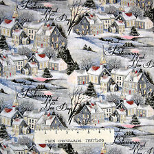 Christmas Fabric - Wintervale Winter Town Scene & Words - Springs YARD