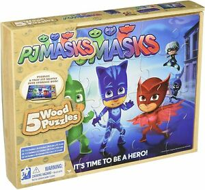PJ Masks 5 Wood Jigsaw Puzzles in Wooden Storage Box New Sealed