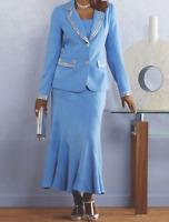 Ashro Blue Formal Dress Beaded Leading Lady Skirt Suit Church Wedding Party 6 8