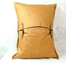 RALPH LAUREN HOME Croc Embossed Leather & Linen Tan Goose Down Throw Pillow