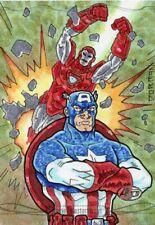 Marvel Masterpieces 2016 Sketch Card - MICHAEL DORMAN AP - CAP & IRON MAN