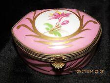 Vtg Limoges Pink Shell Shape Trinket Ring Box Lily Gold Trim Gilt Mounted France