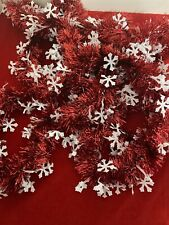 Christmas Holiday Garland Red With White Snowflakes 2 Strings 15'each