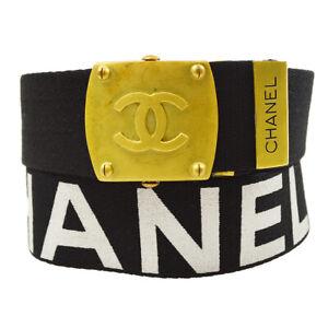 CHANEL CC Logos Buckle Belt Black Gold Canvas 94A 75/30 Vintage Authentic 93437