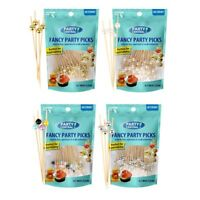 Bamboo Cocktail Skewers 4.7 Inch, Fancy Appetizer Toothpicks - Decorative Party,