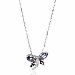 """Crystaluxe Dragonfly Pendant with Crystals in Sterling Silver, 18"""""""