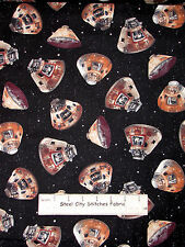 Flying High Space Capsule Ship Toss Cotton Fabric QT Smithsonian 1.5 Yards