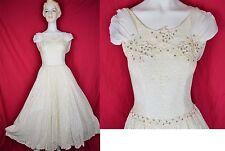 Amzg 50s Lace Overlay Formal Wedding Gown Dress W Rhinestone Embellished Bodice