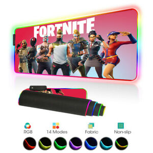 Fortnite Gaming Mouse Pad Gamer RGB LED Large XL Horizontal Mouse Mat PC Desktop