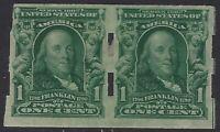 US Stamps - Scott # 314 Imperf Pair w/ Schermack  Perfs - Mint Hinged    (L-873)