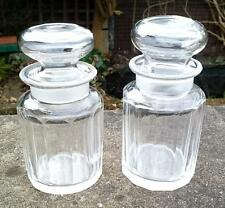 PAIR OF ANTIQUE EDWARDIAN HAND CUT GLASS SCENT / PERFUME BOTTLES JARS ENGLISH