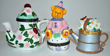 3 Miniature Trinket Boxes, Tea Kettle, Watering Can, Clown Bear