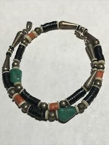 """Handcrafted Old Pawn Navajo Sterling & Stone Necklace,Coral,Turquoise,Shell~17"""""""