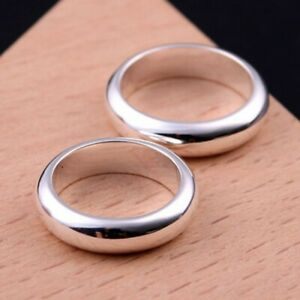 Men&Womens Solid 18K White Gold Filled 6mm Wide Smooth Band Ring Size 6-12 P253
