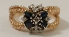 Vintage Sapphire & Diamond 14k Gold Ring, finger size 8.5