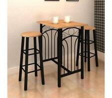Small Kitchen Dining Table & 2 High Stools Seats Black Breakfast Bar And Chairs