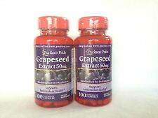 2 Puritan's Pride  Grapeseed Extract 50 mg *** Supports Antioxidant Health ***