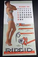 Pin Up  Calendar Page Sign Ridgid Tools 1961  Swimsuit Elyria Ohio