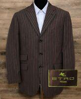 ETRO Milano Men Cotton Dark Gray Pink Striped Blazer Sport Coat Jacket Italy 42R
