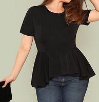 Plus Size Black, Burgundy, Green Short Sleeve Round Neck Peplum Blouse Top