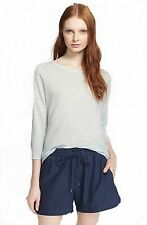NEW VINCE LINEN BLUE THREE QUARTER 3/4 SLEEVE TEE SHIRT NWT $125 Size: LARGE L