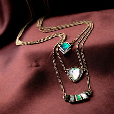 Multi Layered Indian Inspired Pendant Chain Necklace, Gifts for Her, Green
