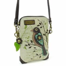CHALA Crossbody Bag Cell Phone Club Bag ~ SAFARI BIRD Sand Canvas/Faux Leather