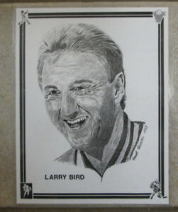 VINTAGE LARRY BIRD ART PRINT BOSTON CELTICS NUMBERED 246/2500 LAMINATED RARE